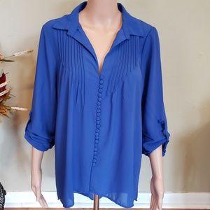 Love Stitch blue convertible sleeve tunic top
